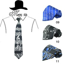 New Design Music Note Black 4Inches Royal Blue Sound Spectrum Big Music Score Neck Tie Polyester Woven Classic Men`s Party tie(China)