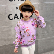 Flower Fashion girl pink sweater lavender yellow new autumn sweatshirt baby girl Hooded shirt Autumn Winter Warm Kids clothing