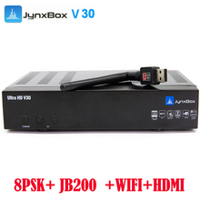 2017 4pcs/lot Hot sale satellite TV receiver Jynxbox ultra hd V30 with 8PSK+JB200+USB Wifi for North America(China)