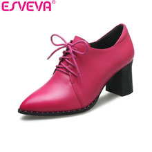 ESVEVA 2017 Western Style Pointed Toe Real Leather Women Pump Lace Up Party Shoes Women Spring Square High Heel Shoes Size 34-39