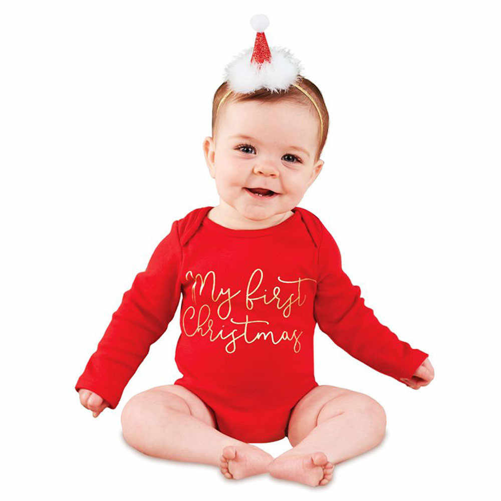 Newborn christmas clothes letters long sleeve baby boys girls rompers fashion o neck jumpsuit outfits