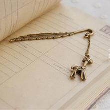 Free Shipping DIY Creative Key Metal Bookmark Cute Cartoon Kawaii Deer Book Marks Paper Clips For Kids School Supplies 3019(China)