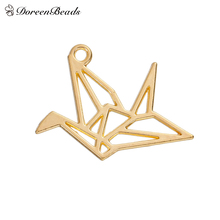 "DoreenBeads Alloy Charms Pendants Origami Crane gold color Hollow 29mm(1 1/8"") x 23mm( 7/8""), 30 PCs"