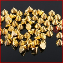 50 Pcs/lot Gold Silver Sewing Spike Rivet Studs Nail Punk Rock For Bags Dress Clothes DIY Bead Crafts Riveting Garment Wedding(China)