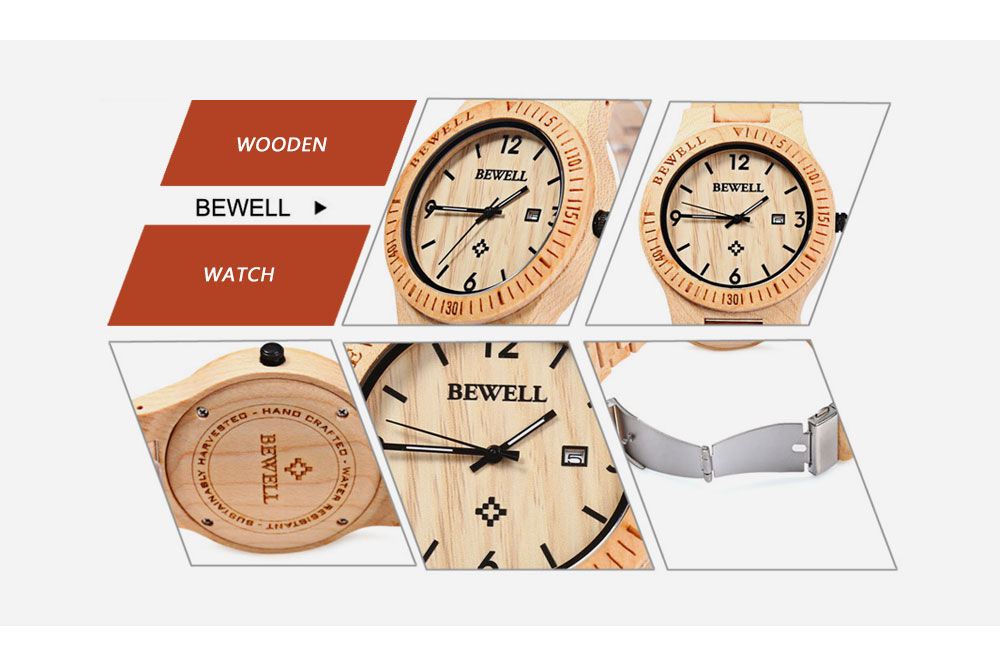 2017 BigBen Bewell Luxury Brand Wood Watch Men Analog Natural Quartz Movement Date Male Wristwatches Clock Relogio Masculino (12)