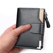 Baellerry Leather Men Wallets Zipper Coin Pocket Sample Solid Men Leather Wallet Card Holder High Quality Male Purse cartera