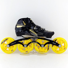four wheels HYPER glass fiber speed skate shoes,matter G13 speed skating wheels,adult inline skating shoes ,roller skating shoes(China)