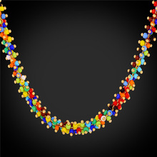 High Quality Synthetic Coral Beads Necklace Women Bohemian Jewelry Wholesale Yellow Gold Color Colorful Necklace 2016 N1638(China)