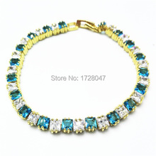 New Spring High Quality Brand Gold color Zircon Bracelet Sapphir sea-blue Gem Cubic Zirconia red Tennis Jewelry For Women