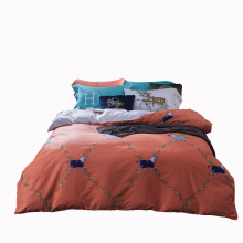 Quality horse bedding orange duvet cover fashion bed sheet modern pillowcase queen bedding set cotton American designer bedding