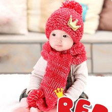 BOBORA Baby Cute and Warming Winter Wool Knitted Crochet Cap with a Crown Pattern Hat and Scarf Set for Infant Boys and Girls