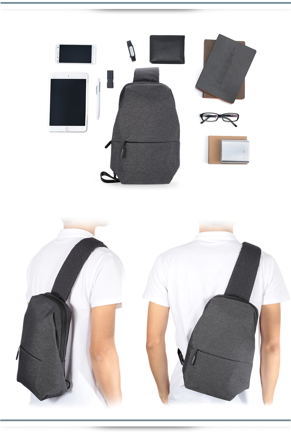Xiaomi 4L capacity polyester material Smooth draw cord zippers design mobile phone wallet  power bank Sling Bag