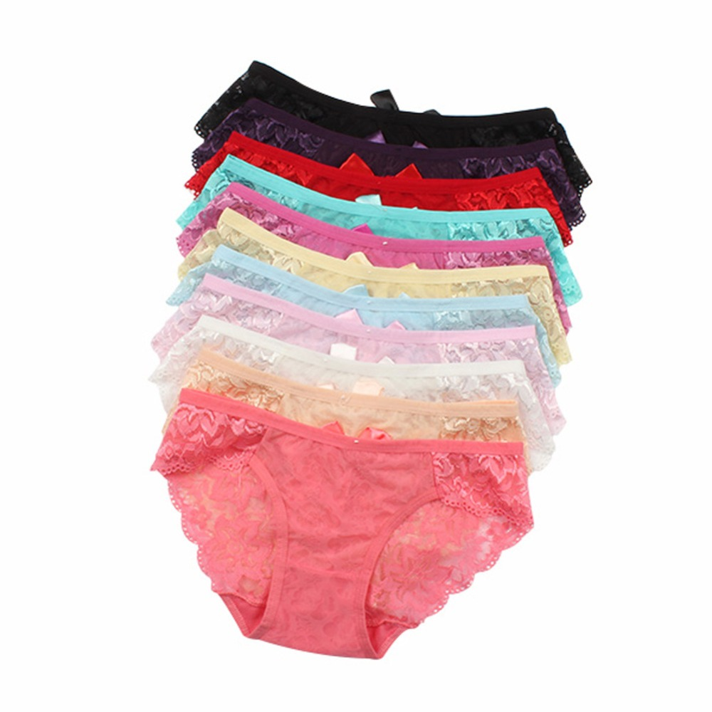 Sexy Panties Women Lace Knickers Low Waist See Floral Briefs Underpants