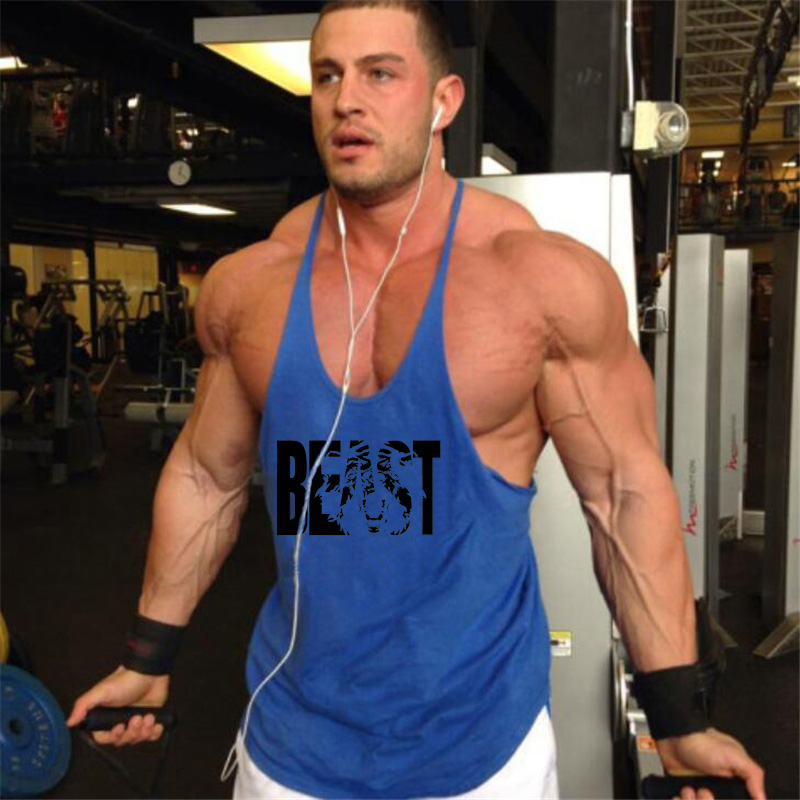 Hippolo Gym Herren Tank Top Men Cotton Stringer Fitness Gym Shirt Solide Sport Vest