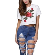 Women T-Shirts Embroidery Roses Print Holes Design Crop Top Summer Tee Shirts Short Harajuku T Shirt Modern Trend Tops