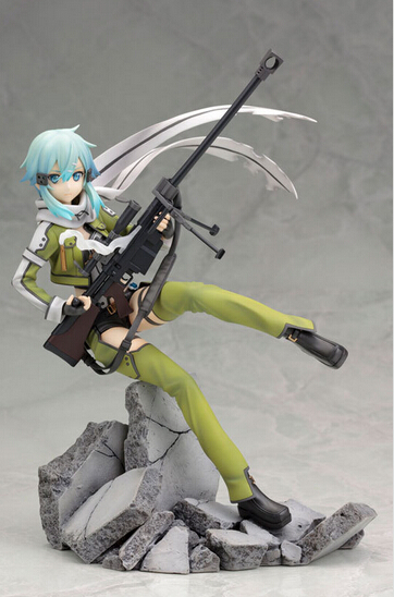 Newest arrival 1pcs Sword Art Online2 Asada shino with gun action pvc figure toy tall 22cm in box packed<br>