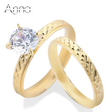 A&N Stainless Steel Solid Gold Color Engagement Ring Big Cubic Zircon Cabochon Luxury Brand Pair Rings For Women Wedding Jewelry(China)