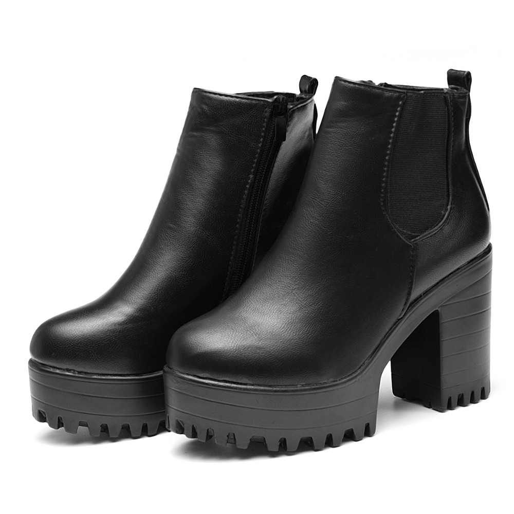 Square Heel Platform Zapatos Mujer PU Leather Thigh High Pump Boots Motorcycle Shoes Black Ankle Botas Mujer Fashion Women Boots<br><br>Aliexpress