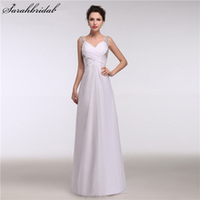 Buy Pleated Chiffon Beach Wedding Dresses Sexy Backless Sequins Beaded Floor Length Dubai Vestido De Noiva 2017 Bridal Gowns GT15 for $92.65 in AliExpress store