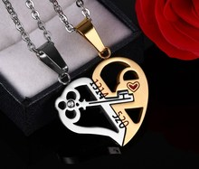 Fashion Heart Key Necklace Pendant Couple Love Forever Wedding Stainless Steel Jewelry