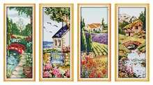 Four seasons Spring cross stitch kit flowers 14ct 11ct count printed canvas stitching embroidery DIY handmade needlework plus