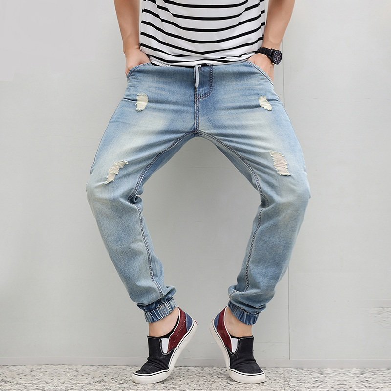 Men Harem Light Blue Denim Joggers 2018 New Fashion Elastic Waist Ripped Jeans Jogger Denim Pants 040610