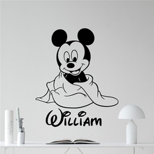 Mickey Mouse Wall Sticker Boy Custom Name Mickey Mouse Cartoons Vinyl Sticker Boy Kids Room Wall Art Nursery Wall Decor