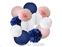 12-Pack Navy Blue Pink White Party Tissue Pom Poms Hanging Paper Lantern Honeycomb Balls Nautical Themed Wedding Decoration