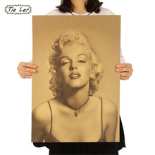 TIE LER Vintage Classic Marilyn Monroe Poster Cafe Bar Home Decor Painting Retro Kraft Paper Wall Sticker Wallpaper 51.5X36cm(China)