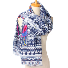 Indian tiger head and feather cotton twill scarf shawl national wind geometry,women scarf