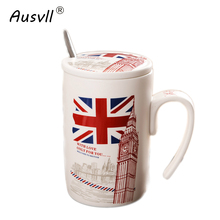Ausvll Ceramic Cups Newest Style Mug Milk Coffee Tea Mugs Friends Gifts Student Breakfast With Spoon Matte Matte Ceramic Cup(China)