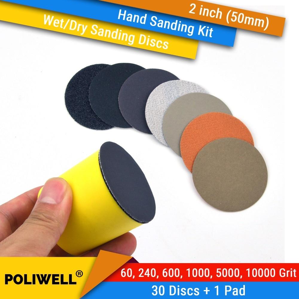 30pcs 4 Inch 60 240 600 1000 5000 10000 grit Wet//Dry Hook and Loop Sanding Discs