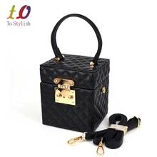 Black Pu phone Case diamond Lattice Women Lock Handbags with Strap Evening Bag Designer Square box bag Mini Tote Bag z8182