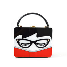 2017 New Women Acrylic Clutch Flap Novel Evening bag Messenger Bag Glasses and Lady Face Design Wedding Bag Lady Shoulder Bag(China)