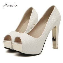 AINIDO Wholesale Low Price Brand New Design Women Pumps Peep-toe Pumps High Heels Platforms Shoes
