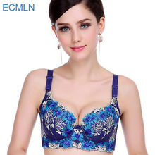 Hot Fashion Lady Women's padded bra Underwire Deep-V Sexy Embroidered Side Support Push Up Bra Underwear(China)