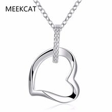 Big heart pendant chains for Women girls 925 stamped silver plated wear hot brand new fashion popular chain necklace jewelry