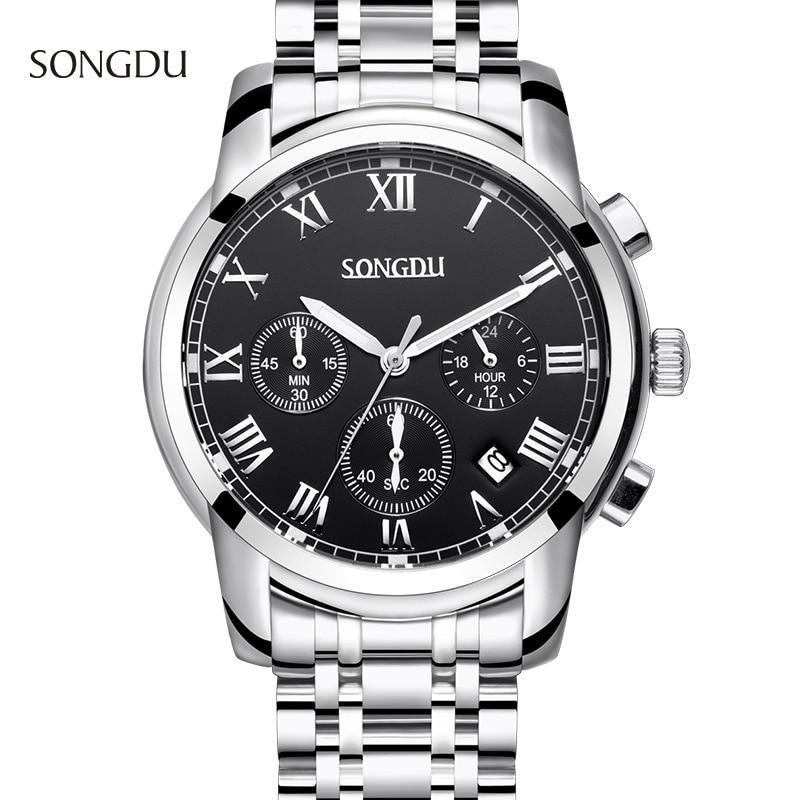 reloj hombre SONGDU fashion waterproof men watch three calendar simple waterproof steel strap male watches relogio masculino<br>