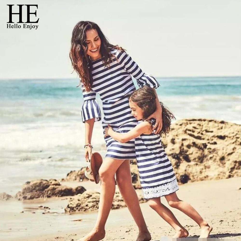 HE-Hello-Enjoy-Matching-Outfits-Mother-Daughter-Dresses-Summer-2018-Mommy-And-Me-Clothes-Beach-Stripe