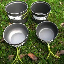 Portable Outdoor Camping Hiking Aluminium Alloy Cooking Sets Practical Non-stick Pots Pans Bowls Cookware with Folding Handles