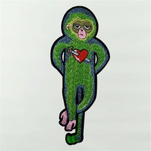 Patches for clothing Women DIY Embroidery 295MM monkey heart iron on patch punk deal with it Girl clothes animal stickers(China)