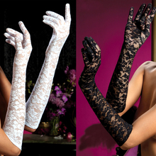 Sexy long gloves women black red white floral print lace gloves mittens lace gloves 9051(China)