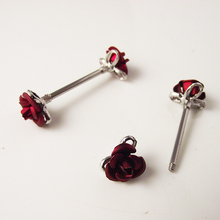 2 piece 1.6*16*6mm 14G Punk Rock Double Red Flower Nipple Shield Rings Body Piercing Jewelry Rose Flower Nipple Bar ring Women(China)