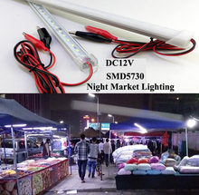 10pcs*50cm DC12V 5730 LED Rigid Bar 72LEDs/M Hard Rigid LED Strip with 3M Power Wire and Clips Night Market Lighting Best Choice