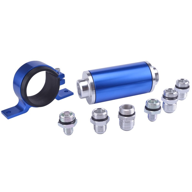 Universal High Flow Aluminum Fuel Filter For Motorsport Rally Racing With 100 Micron Element Steel With Fitting An 6 8 10 Blue(China (Mainland))