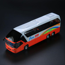 19*6CM Alloy pull back  luxury bus model Cars toy car cool human voice door can open car toys