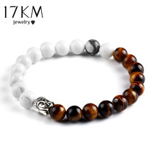 17KM 2016 Buddha Bracelet Bangles 2 Colors Elastic Chain Brazalete Lava Stone Pulseira Bracelets For Women and Men Gift Jewelry
