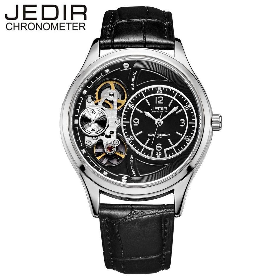 JEDIR Mens Watches Top Brand Luxury Mens Tourbillion Auto Mechanical Genuine Leather Wristwatch Gift Box Free Ship<br>
