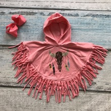 antlers clothes kids cloak outfits baby girls hoodie clothing dream catch coral clothing children boutique tassels match bow(China)