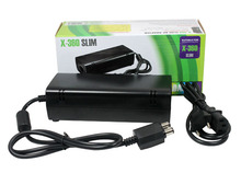 Brand New AC Adapter Power Supply Cord Charger FOR XBOX 360 Slim Black Free shipping &wholesale Onfine Leo